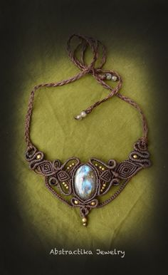 Spiral macrame necklace with labradorite by AbstractikaCrafts, £39.00