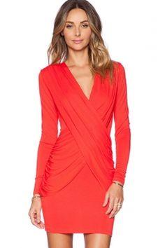 Red Pretty Womens V-neck  Pleated Wrap Long  Sleeve  Dress Revolve Clothing ba204c684