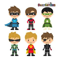 FREE Boy Super Heroes Clip Art Set