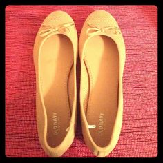 Old Navy perforated flats Tan colored flats with ornate now and gold tips. Never worn! Fits small probably better fits a 9.5 ❌ trades ❌ paypal Old Navy Shoes Flats & Loafers