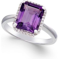 Amethyst (2 3/4 ct. t.w.) and Diamond (1/8 ct. t.w.) Ring 14k White... ($702) ❤ liked on Polyvore featuring jewelry, rings, white gold, emerald cut amethyst ring, emerald cut ring, amethyst ring, 14 karat gold ring и 14k jewelry