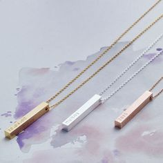 Personalised Bar Necklace by Lisa Angel. From £29. In gold, rose gold, silver, dipped gold, dipped silver or black.