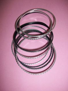 15 Mixed Costume Silver & Black Tone Bangles by MICSJWL on Etsy, $5.00