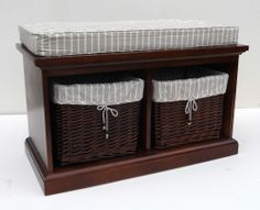 TOBS FURNITURE STORAGE BENCH SEAT DARK WOOD 2 WICKER BASKET DRAWERS CUSHION