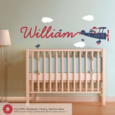 Airplane Wall Decal Boy Name Skywriter Kids Baby by graphicspaces - LOVE this minimal bedding look.