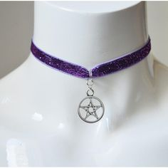 Kitten play day choker velvet glitter ribbon purple with pentagram... (52 DKK) ❤ liked on Polyvore featuring jewelry, necklaces, purple ribbon charm, purple ribbon necklace, choker necklace, purple necklace and pentagram necklace
