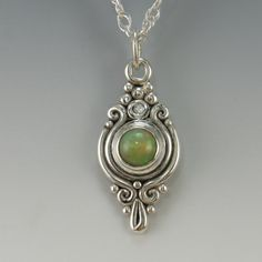 Sterling Silver Ethiopian Opal and Diamond by DenimAndDiaJewelry