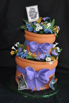Flower Pots by Custom Cakes by Susan by corinne - My mom would love this cake.