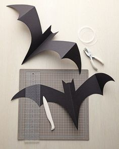 Batty for bats! A template for bats that you can hang from a tree or all along the porch this Halloween!