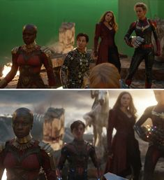 """Here was Okoye joining in on the fight — also, look at Tom Holland's stunt double. 25 """"Avengers: Endgame"""" Behind-The-Scenes Photos That'll Change The Way You See The Movie Marvel Women, Marvel Actors, Marvel Movies, Captain Marvel, Marvel Avengers, Die Avengers, Female Avengers, Avengers Team, James Cameron"""