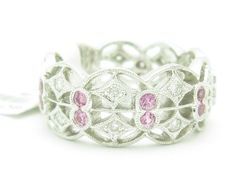 18Kt Solid White Gold Diamond & Pink Sapphire Eternity Design Ring