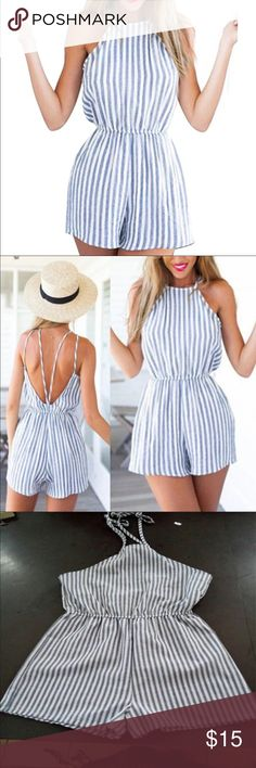 Romper Perfect for summer! Similar to a linen material. Only comes with two straps in the back instead of the four pictured Pants Jumpsuits & Rompers