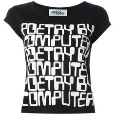 Jeremy Scott Quote Print T-Shirt ($44) ❤ liked on Polyvore featuring tops, t-shirts, black, print tees, print t shirts, patterned tops, pattern t shirt and print top