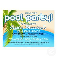 Pool Party Celebration Invitations Kids I Birthday