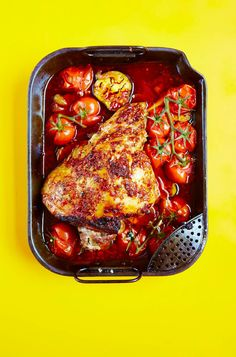 Feed a crowd with this easy, one-pan roast lamb recipe from The Roasting Tin, flavoured with harissa and served with sweet roasted tomatoes and aubergines. This Middle Eastern inspired dish will make a welcome change from a traditional roast lamb.
