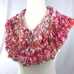 Pink and orange art yarn bandana cowl for sale in my Etsy shop!