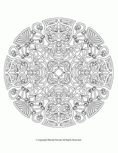 Vintage Art Nouveau Mandala Coloring Page for Adults (and Patient Kids!) - DIY and Crafts Mandala Art, Mandala Pattern, Zentangle Patterns, Zentangles, Mandala Coloring Pages, Coloring Book Pages, Printable Coloring Pages, Motifs Art Nouveau, Art Nouveau Pattern