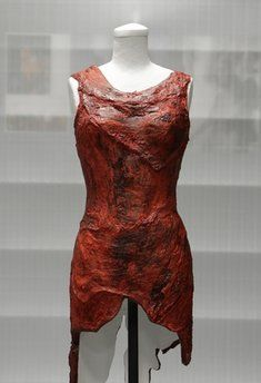 In this photo taken June 14, 2011,the dress made of meat worn by Lady Gaga at the 2010 MTV Video Music Awards is shown in the museum's vault.