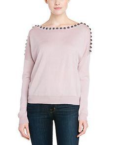 Rebecca Minkoff Harvey Petal Pink Embellished Sweater