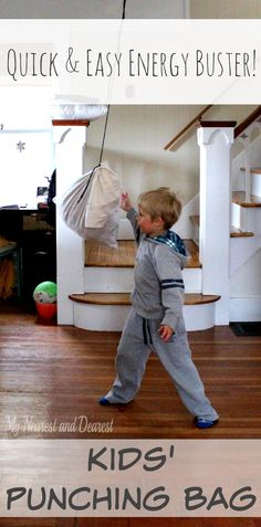 Homemade punching bag for kids. Let your little one expend some energy. Such a fun and easy idea!