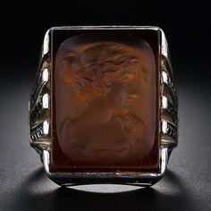 Art Deco Carnelian Intaglio Ring - 30-1-4984 - Lang Antiques
