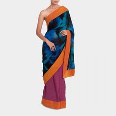 Shaded khadi silk and georgette saree  #india #indian #designer #sari #modern #contemporary #party #colorful