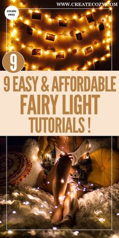 Whether it's decorative fairy lights in the bedroom or string lights decor projects in any other room of the house, this post has inspiring tutorials. See projects like fairy light headboards and fairy light wall decorations and a tumblr style bed canopy to give you lots of practical ideas for cheap and gorgeous fairy light projects.