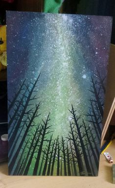 Sky night milky way by ATB - Jaqueline Stark - Acrylic painting. Sky night milky way by ATB Acrylic painting. Sky night milky way by ATB - Painting Techniques Canvas, Acrylic Painting For Beginners, Beginner Painting, Acrylic Painting Canvas, Diy Painting, Canvas Art, Galaxy Painting Diy, Black Painting, Star Painting