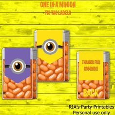 One In A Minion Tic Tac Labels