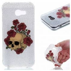 Flash Powder Double-sided IMD TPU Mobile Cover for Samsung Galaxy - Skull with Red Roses Mobiles, Android, Mobile Covers, Red Roses, Samsung Galaxy, Skull, Phone Cases, A5, Phones