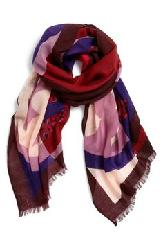 Love the mix of pink, red and purple in this scarf | Tory Burch