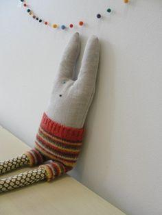 bunny rabbit softie . Loop Loft. http://www.etsy.com/listing/72226374/bunny-rabbit-softie-cooper-the-rabbit?ref=tre-304129903-9