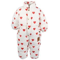 Mini Rodini Heart Baby Overall Offwhite Baby Shop, Off White, Jumpsuits, Overalls, Button Down Shirt, Winter Jackets, Men Casual, Mini, Mens Tops