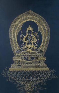 Tibet Tattoo, Japan Watercolor, Black Buddha, Nepal Art, Buddha Wall Art, Vajrayana Buddhism, Buddhist Symbols, Thangka Painting, Tibetan Art