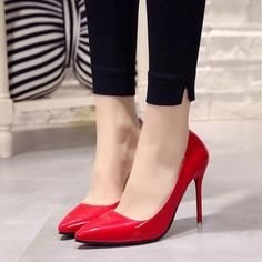 Plus Size 34 44 Hot Women Shoes Pointed Toe Pumps Patent Leather Dress High Heels Boat Wedding Zapatos Mujer Blue Wine Red-in Women's Pumps from Shoes on AliExpress Red Patent Leather Pumps, Patent Shoes, Leather High Heels, Leather Shoes, Pu Leather, Pointed Toe Pumps, High Heel Pumps, Pumps Heels, Stilettos