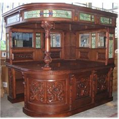 Antique Covered English Sty Corner L HOME BAR Furniture PUB Man Cave Canopy  LEFT Hand The
