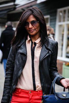Sight seeing:  -Jacket  -Shirt  -Jeans  -Sunglasses
