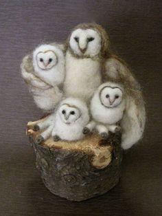 Needle Felted Animal, Barn Owl, design by Borbala Arvai