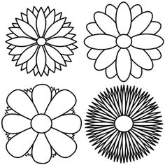 Cartoon Drawing Of Four Different Flower Designs