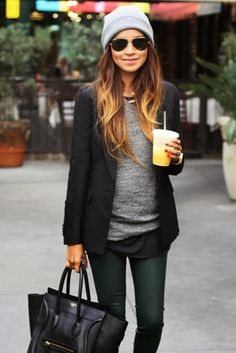 Black and grey fall street style fashion ... layering with a blazer, sweater, skinny jeans, and oversized bag.