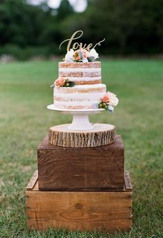 """Naked cake, gold """"love"""" cake topper, pink flowers // Heidi Vail Photography #weddingcakes"""