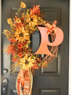 classic fall wreath with metal letter, CAUTE