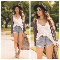 Forever 21 Top, Vintage Shorts, Pink And Pepper Boots, Forever 21 Cardigan, Oasap Hat