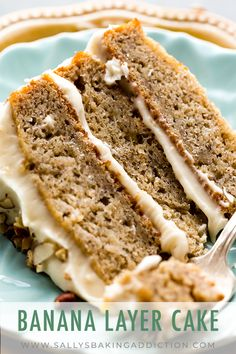 Best banana layer cake recipe with brown butter cream cheese frosting! So easy … Best banana layer cake recipe with brown butter cream cheese frosting! So easy to make. Recipe on sallysbakingaddic… Banana Layer Cake Recipe, Layer Cake Recipes, Homemade Cake Recipes, Cupcake Recipes, Dessert Recipes, Banana Cupcakes, Layer Cakes, Banana Cake Frosting, Homemade Cake Frosting