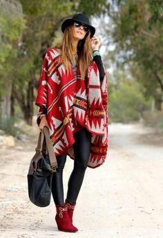 poncho manteau en couleurs chaudes, style boho chic