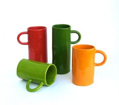 colorful porcelain hand built cups     drinks for 4 by clayswan, $84.00