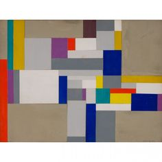 "Ilya Bolotowsky (Russian-American, 1907-1981)  Geometric Abstraction, 1953  Signed lower right """"I. Bolotowsky / 53″"", Mixed media on cardboard,  7 1/2 x 10 inches"