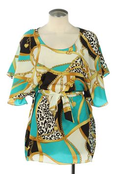 Mixed Print Woven Dress with Tie in sizes Small-Large $25.00