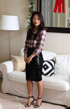 Looking for cute outfits for cocktais to christmas parties. Here is your source! Christmas Tartan Sequins // #holidaystyle