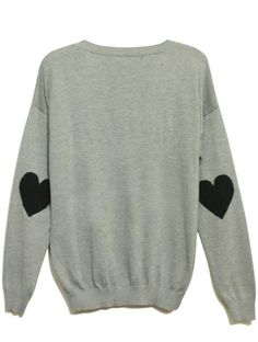 Grey Long Sleeve Heart Patch Pullovers Sweater